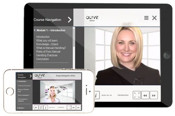 Olive Learnings Academy LMS course screen displayed on ipad and iphone