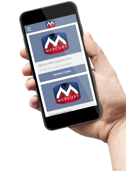 Academy LMS app with custom branding for Mercury Engineering