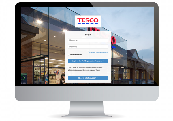 Tesco login screen on Academy LMS
