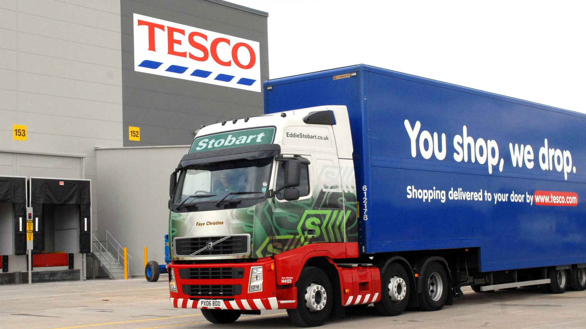 tesco freight truck pulling into loading dock